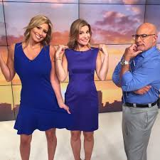Fun filled job at the Weather Channel: Jen Carfagno with her colleagues  Stephanie Abrams and Jim Cantore | Stephanie abrams, The weather channel,  Nice dresses