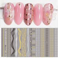 1sheet 3d Nail Stickers Black Gold Decal Tassel Strip Line Slider Foils Adhesive Nail Art Decoration Tips Lace Manicure Tools Stickers Decals Aliexpress