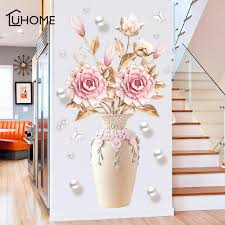 Creative Peony Flowers Vase Wall Sticker For Living Room Bedroom Decal 3d Wall Stickers Removable Wall Decoration Painting Decor T200111 Cheap Wall Decals For Kids Cheap Wall Decor Stickers From Xue009 11 23