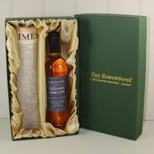 newspaper and personalised wine gift