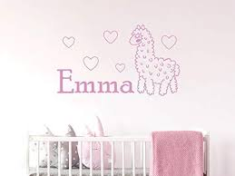 Amazon Com Diuangfoong Wall Decal Llama Personalized Name For Bedroom Wall Decals For Baby Girls Nursery Wall Art Animals Alpaca Wall Art Decals Home Kitchen