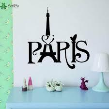 Yoyoyu Vinyl Wall Decal Paris Wordart Eiffel Tower Interior Home Living Room Can Be Transferred Art Stickers Fd081 Vinyl Wall Decals Wall Decalsvinyl Wall Aliexpress