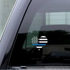 Usa Heart Flag Thin Blue Line Distressed Sticker 4 Rear Window Cutout Decal Ebay