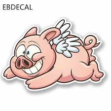 Ebdecal Cartoon Flying Pig Car Bumper Window Wall Suitcase Decal Sticker Decals Diy Decor Ct30498 Aliexpress