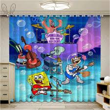 Cute Spongebob Squarepants Curtains For Window Cartoon Kids Living Room Blackout Curtain Bedroom Drapes Curtains Aliexpress