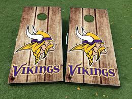 Product Minnesota Vikings Cornhole Board Game Decal Vinyl Wraps With Laminated