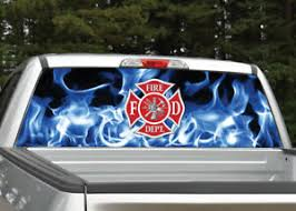 Firefighter Emblem Flames Blue Fire Rear Window Decal Graphic For Truck Suv Ebay