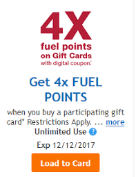 load digital coupon for 4x fuel points