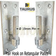 Pair Galvanised Heavy Duty Gate Field Hook On Plate Hinge Brackets 19mm O Pin Loktonic