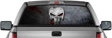 Amazon Com Ez Cut Pro American Punisher Skull Pick Up Truck Back Window Graphic Decal Perforated Vinyl 55 X 15 Small Automotive