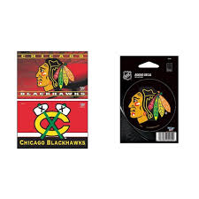 Chicago Blackhawks Official Nhl Car Magnet 2 Pack And Vinyl Car Decal Bundle 2 Items Walmart Com Walmart Com