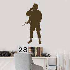 56 109cm Salute Soldier Silhouette Vinyl Decal Art Wall Decor Home Wall Stickers Military Memento Wallpapers High Quality Lc1041 Wall Stickers Aliexpress