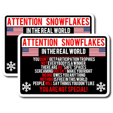 X2 Attention Snowflake Funny Political Trump Car Truck Window Decal St Owntheavenue