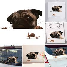 3d Pug Dog Watch Snail Funny Car Sticker Windscreen Decal Cute Pet Puppy Laptop Window Bathroom Auto Decoration Wish