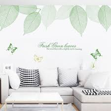 Large Fresh Hollow Green Leaf Decal Butterflies And Quote Living Room Wall Stickers Tropical Leav On Luulla