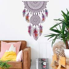 Big Offer A5c411 Retro Style Catch Monternet Dream Catcher Colorful Feather Wall Stickers Art Design For Living Room Bedroom Kids Room Wall Decal Cicig Co