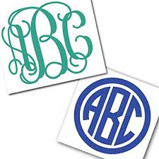 Amazon Com Custom Personalized Vine Or Circle Monogram Initials Sticker Decal Compatible With Yeti Cups Laptops Tumblers Car Windows Glitter Available Arts Crafts Sewing