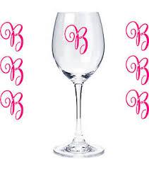 Set Of 10 Monogram Initials Sticker Vinyl Decals Glasses Wine Glasses Cups 10 Ebay