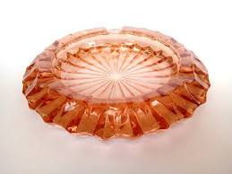 large amber glass ashtray mid century