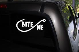 Amazon Com Classy Vinyl Creations Bite Me Decal Fishing Decal Car Truck Automotive Window Black Or White Decal Bumper Sticker 3 H X 6 5 W Home Kitchen