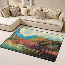 Amazon Com Rugs And Carpets Art Kids Play Rug Surreal Autumn Forrest 3 X 5 Rectangle Kitchen Dining