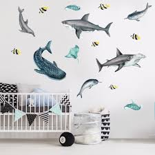 Shark Sea Life Watercolor Wall Decal Sticker Kit