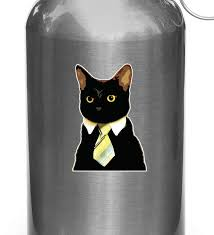The Decal Store Com By Yadda Yadda Design Co Clr Wb Corporate Cat Wearing Tie Vinyl Water Bottle Decal Copyri