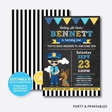 Police Chalkboard Kids Birthday Invitation Editable Instant