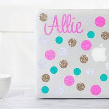 Amazon Com Glitter Version Laptop Or Macbook Name And Polka Dots Decal Sticker Set Handmade