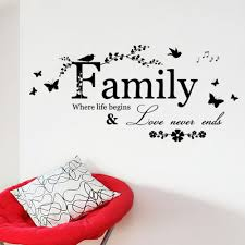 Family Love Never Ends Butterfly Flower Quote Vinyl Wall Decal Lettering Words Wall Sticker Home Decor Art Poster Wallpaper Poster Wallpaper Words Wall Stickersvinyl Wall Decals Aliexpress
