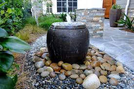 covered outdoor patio water feature
