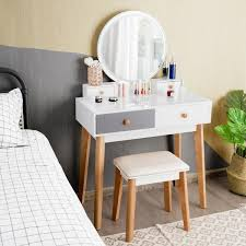 costway 2 piece white grey vanity table
