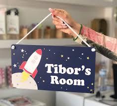 Amazon Com Custom Dark Blue Space Themed Kids Door Sign Rocket Bedroom Nursery Wall Plaque Handmade