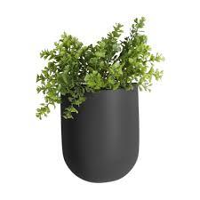 oval wall hanging plant pot matt black
