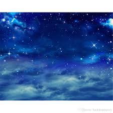 بريق نجوم وغيوم السماء الزرقاء ليلة التصوير خلفية الفينيل أطفال