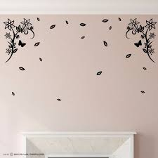 2x Corner Flower Swirl With Loose Leaves Vinyl Wall Sticker Etsy