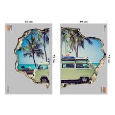Shop Walplus 3d View Wall Sticker Camper Van Art Home Decor Decal Overstock 31770401