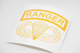 Amazon Com Airborne Wings And Ranger Tab Vinyl Decal Yellow 5 Inches Wide Arts Crafts Sewing
