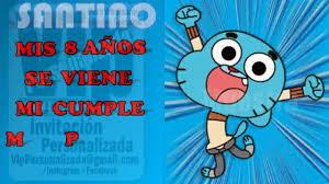 Vip Video Invitacion Personalizada Cumpleanos Eventos Gumball