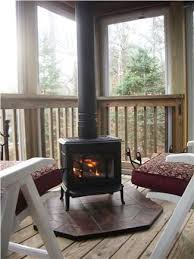 wood stove on an enclosed porch