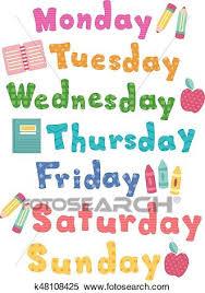 Weekdays School Labels Lettering Clipart | k48108425 | Fotosearch