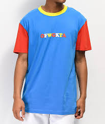 colorblocked red yellow blue t shirt
