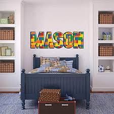 Amazon Com Lego Bricks Personalized Name Decal Wall Sticker Wp08 Large Home Kitchen