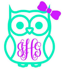 Owl Monogram Decal Southern Grace Creations