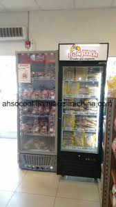 china vertical glass door freezer
