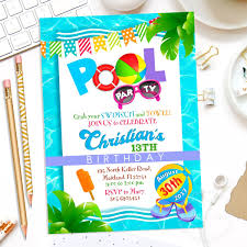 Invitacion De Cumpleanos Pool Party Piscina Fiesta Verano