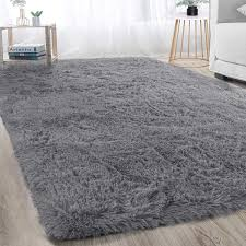 Amazon Com Super Soft Large Shaggy Fur Area Rug Grey For Bedroom Dorm Nursery Kids Boys Room Modern Indoor Home Decorative Livingroom Carpet Plush Fluffy Comfy Accent Floor Rugs 4x6 Feet Home