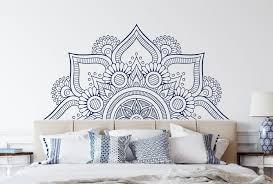 Half Mandala Wall Decal Headboard Mandala In Half Vinyl Etsy Headboard Decal Bohemian Bedroom Decor Bedroom Decor