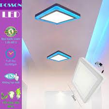 Đèn Led ốp trần 18w +6w vuông nổi 2 màu 3 chế độ sáng trắng+xanh  LP-SoW18-B6