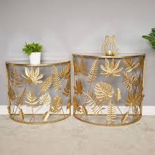 half moon glass coffee side end tables